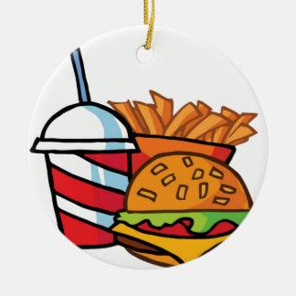 Fast Food Cheeseburger Ceramic Ornament