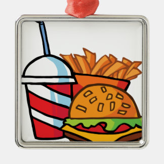 Fast Food Cheeseburger Silver-Colored Square Decoration