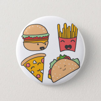 fast food friends 6 cm round badge