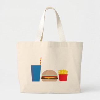 fast food meal large tote bag