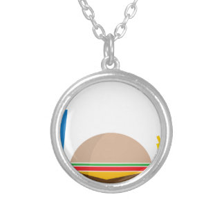 fast food meal silver plated necklace
