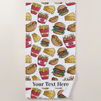 Fast Food Pattern custom text beach towel