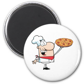 Fast Food Proud Chef Holds Up Pizza 6 Cm Round Magnet
