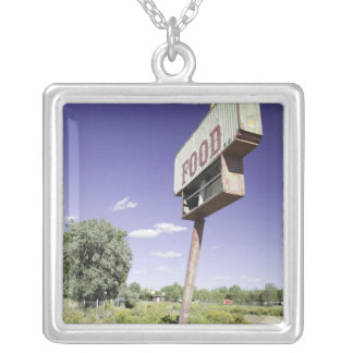Fast food restaurant sign silver plated necklace
