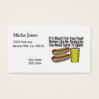 Fast Food Worker Business Card