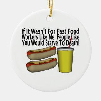 Fast Food Worker Ceramic Ornament