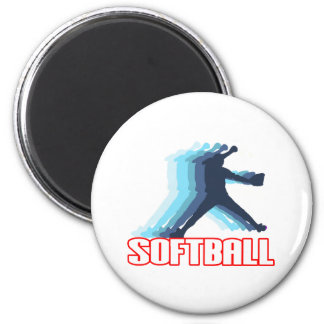 Fast Pitch Softball Silhouette 6 Cm Round Magnet