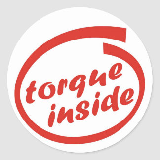 Fast racing car engine: torque or horsepower (hp) classic round sticker