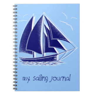 Fast sailing! nautical, vintage, personalized spiral notebook