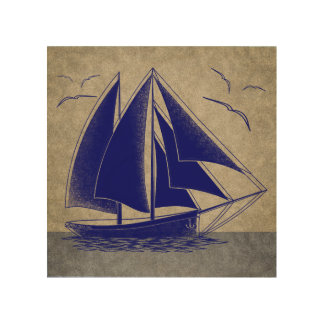 Fast sailing, nautical vintage rustic wood wall decor