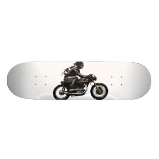 Fast Skateboard with Cafe Racer Motorcyle Rider