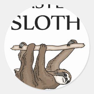 faster sloth round sticker