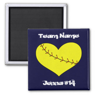 Fastpitch Softball Heart Magnet