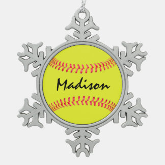Fastpitch Softball Snowflake Christmas Ornament