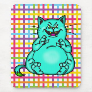 Fat and Happy Cartoon Cat Mouse Pad