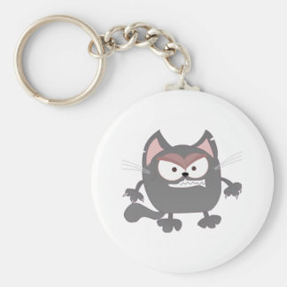 Fat Angry Grey Kitty Cat Basic Round Button Key Ring