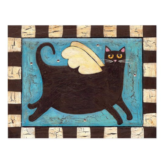 Fat Black Angel Cat Postcard