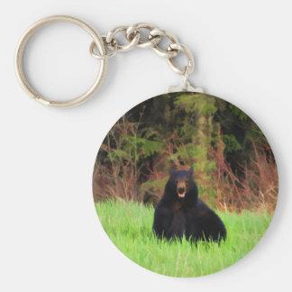 Fat Black Bear and Wild Grasses Wildlife Art Key Ring