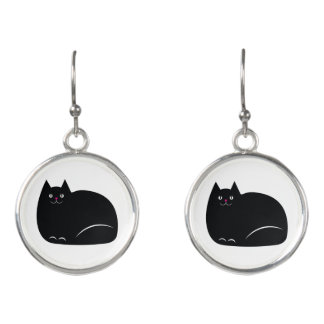 Fat Black Cat Earrings