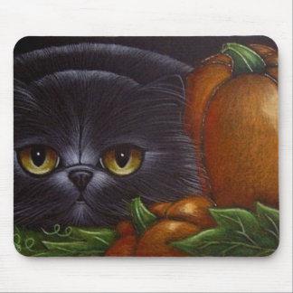 FAT BLACK PERSIAN CAT Mousepad