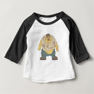 Fat Blind Creepy Zombie With Rotting Flesh Outline Baby T-Shirt