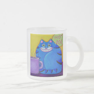 Fat Blue Cat Coffee Original Cat Art Frosted Glass Coffee Mug