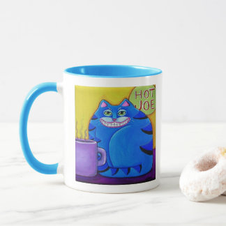Fat Blue Cat Original Cat Art Mug