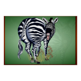 Fat Butted Zebra -Yardsign Poster