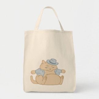 Fat Cat Little Coat Grocery Tote Bag