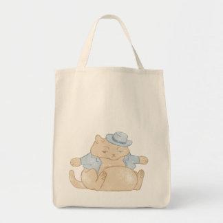 Fat Cat Little Coat Vintage Grocery Tote Bag