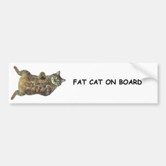 Fat Cat on Board Bumper Sticker