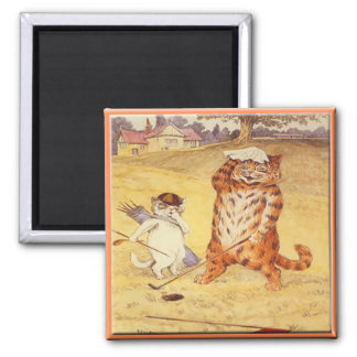 Fat Cat playing golf Square Magnet