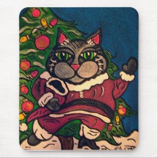 Fat Cat Santa Christmas themed mousepad