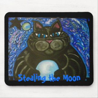 Fat Cat Stealing the Moon Mouse Pad