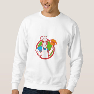 Fat Chef Cook Twirling Football Circle Retro Sweatshirt