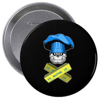 Fat Chef Skull v3 Pinback Buttons