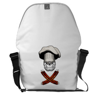 Fat Chef Skull v4 Courier Bags