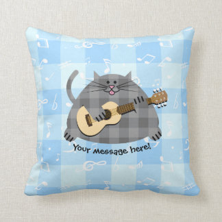 Fat Chequered Country Kitty Cat Acoustic Guitar Cushion