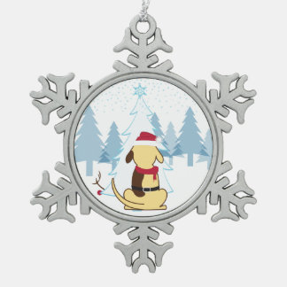 Fat Dog Christmas snowflake ornament