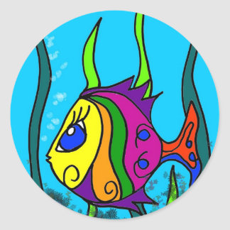 Fat Fish Colorful Classic Round Sticker
