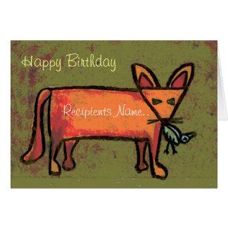 Fat Fox Personalised Happy Birthday Art Card