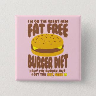 Fat Free Burger Diet 15 Cm Square Badge