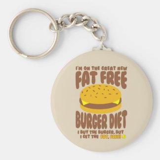 Fat Free Burger Diet Basic Round Button Key Ring