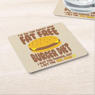 Fat Free Burger Diet Square Paper Coaster