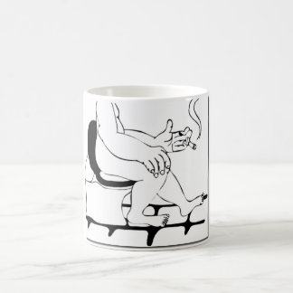 Fat Guy Smoking On The Toilet Comic Manga Style Coffee Mug