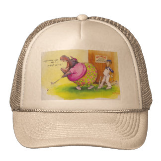 Fat hippo playing golf cap