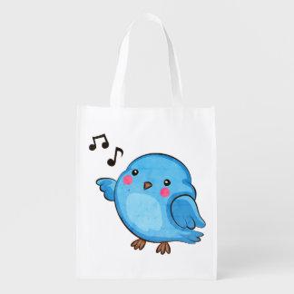 Fat Little Bluebird - Cute bird art Reusable Grocery Bag