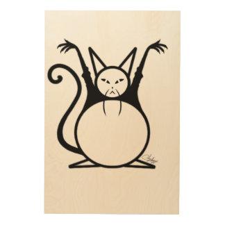 Fat Master Cat Wood Wall Art