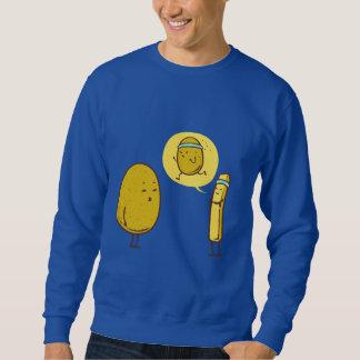 Fat potato against a weak potato sweatshirt
