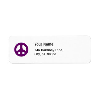 Fat Purple Peace Sign Custom Return Label Return Address Label
